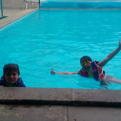 Having fun swimming